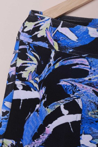 Outfits Chic Mid-Waisted Plant Print Plus Size Women's Pants - 3XL BLACK Mobile