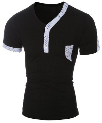 Outfits Color Block Dot Splicing Special V-Neck Short Sleeve T-Shirt For Men BLACK M