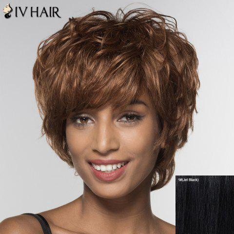 Unique Stylish Siv Hair Short Side Bang Human Hair Wig For Women - JET BLACK  Mobile