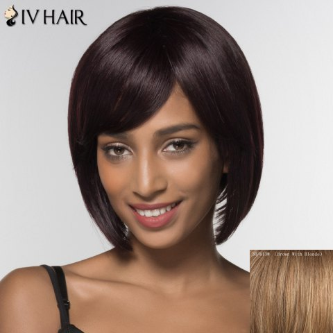Chic Stylish Siv Hair Bobo Style Inclined Bang Human Hair Wig For Women