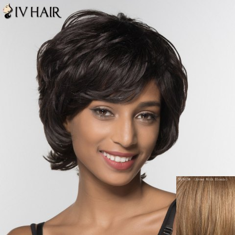 Outfits Stylish Siv Hair Curly Short Inclined Bang Human Hair Wig For Women