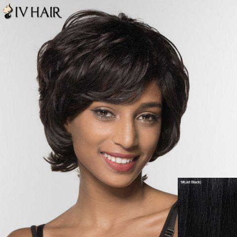 Discount Stylish Siv Hair Curly Short Inclined Bang Human Hair Wig For Women - JET BLACK  Mobile