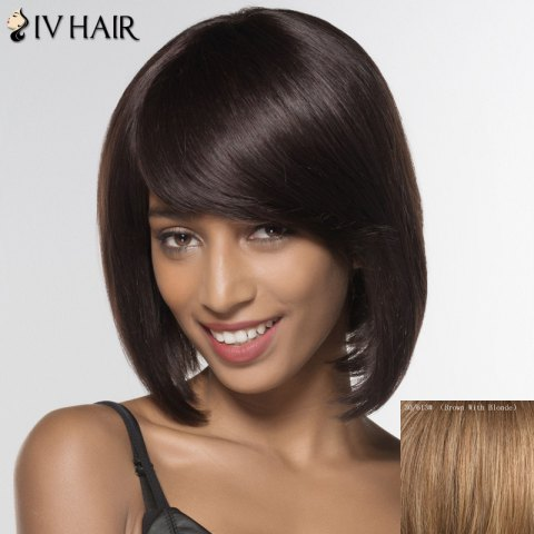 Cheap Stylish Siv Hair Straight Medium Human Hair Wig For Women