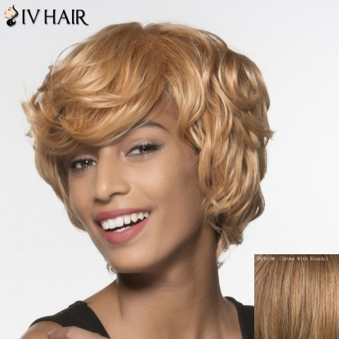 Stylish Siv Hair Curly Short Human Hair Wig For Women - BROWN/BLONDE