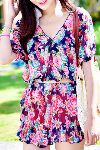 Sale Chic High Waisted Tiny Floral Print Four-Piece Swimsuit For Women BLUE/PINK M