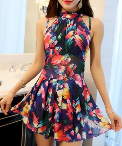 Affordable Elegant Stand Collar Floral Print Underwire Swimsuit For Women