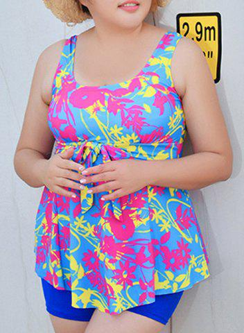 Stylish Scoop Neck Printed Plus Size Women's Tankini Set