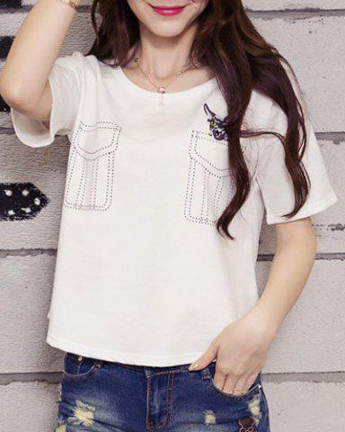 Sale Faux Pocket Embroidered Graphic Tee