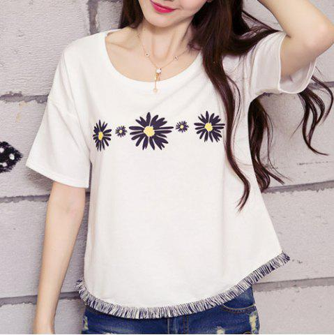 Cheap Flower Graphic T-Shirt WHITE S