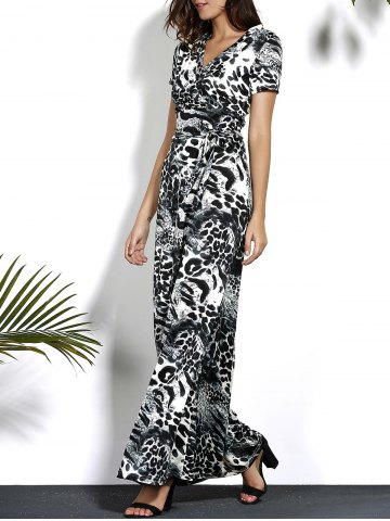 Shop Leopard V Neck Maxi Dress with Sleeves