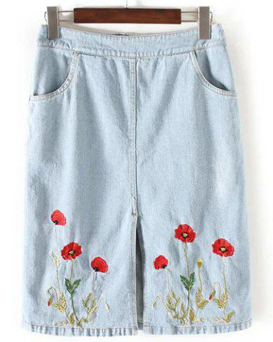 Buy Graceful High Waist Denim Flower Embroidery Slit Skirt For Women