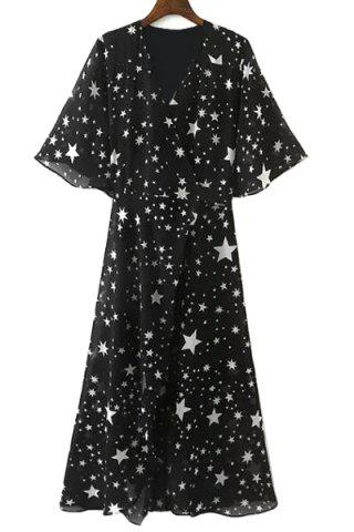 Cheap Graceful V Neck Half Sleeve See-Through All-Over Stars Print High Slit Dress For Women