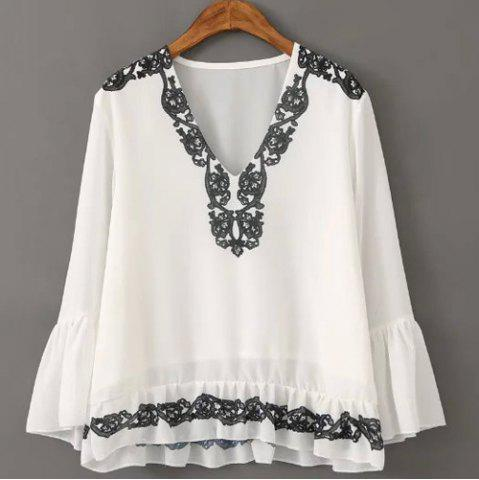 Buy Graceful V Neck Flare Sleeve Embroidered Chiffon Blouse For Women