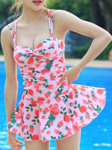 Shops Sweet Style Strappy Floral Print Criss-Cross Two-Piece Swimsuit For Women PINK M