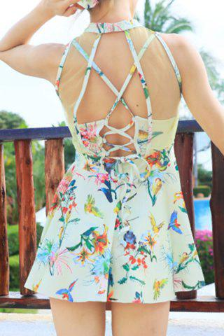 Shop Sweet Style Stand-Up Collar Floral Print See-Through Criss-Cross Swimsuit For Women