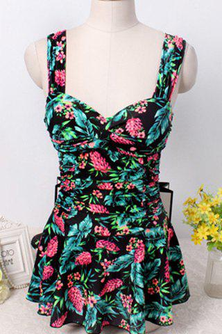 Hot Floral Tropical Print Skirted One-Piece Swimwear For Women BLACK M