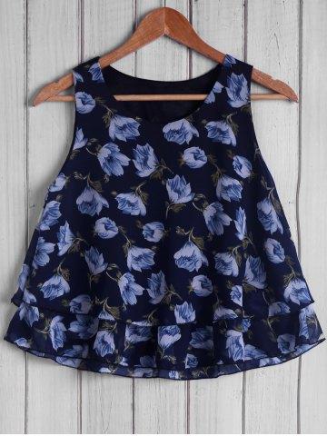 Sale Trendy Round Collar Sleeveless Loose-Fitting Floral Print Women's Tank Top