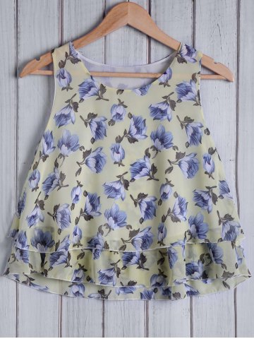 Store Stylish Round Collar Floral Pattern Loose-Fitting Women's Tank Top