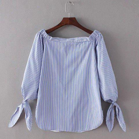 Store Stylish Women's Pinstriped Off The Shoulder Blouse