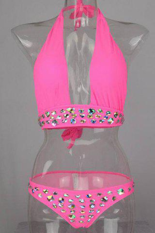 Cheap Stylish Halter Rhinestone Bikini Set For Women
