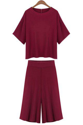Shop Casual Jewel Neck Short Sleeve T-Shirt and Wide Leg Pants Suit For Women