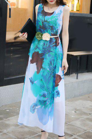 Chic Casual Scoop Neck Sleeveless Tie Belt Floral Printed Chiffon Dress For Women