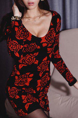 New Fashionable Plunging Neck Long Sleeves Floral Print Fitted Dress For Women
