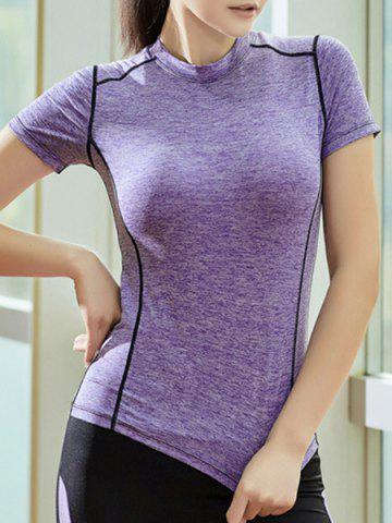 Trendy Graphic Short Sleeves Workout Gym Running T-Shirt PURPLE XL