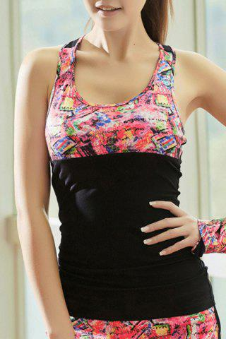 Fashion U Neck Cut Out Printed Running Vest