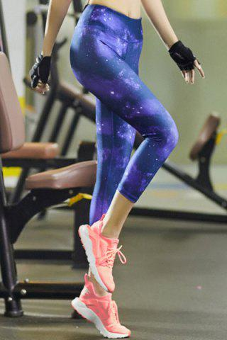 Outfit Sporty Skinny Starry Sky Print Workout Capri Pants - L BLUE Mobile