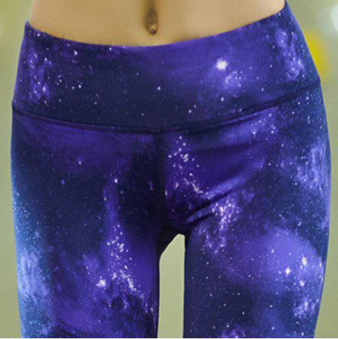 Trendy Sporty Skinny Starry Sky Print Workout Capri Pants - L BLUE Mobile