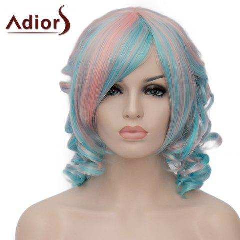 Shops Stunning Pink Mixed Green Synthetic Fluffy Short Curly Side Bang Adiors Wig For Women