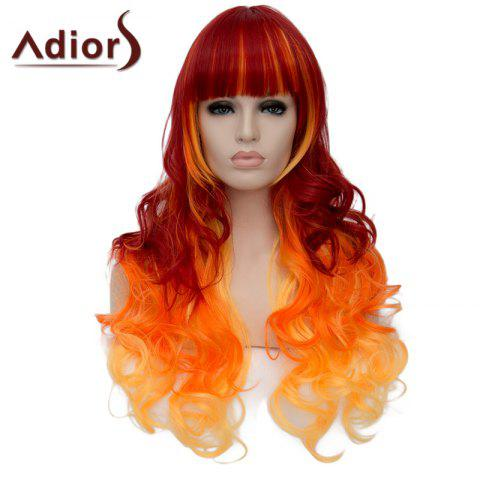 Outfit Gorgeous Full Bang Three Color Gradient Capless Fluffy Long Wave Synthetic Adiors Wig For Women