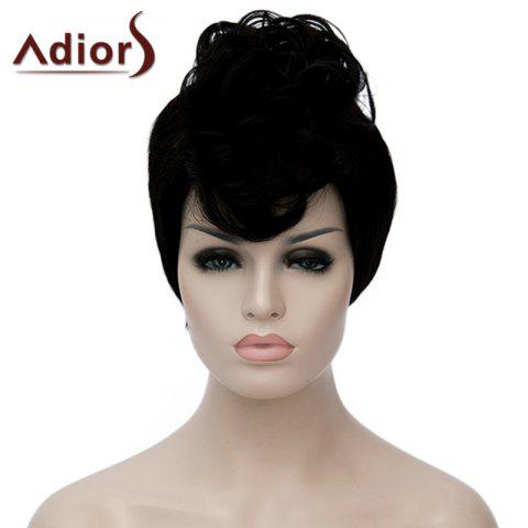 Online Fluffy Straight Synthetic Fashion Black Short Adiors Hair Bump Wig For Women
