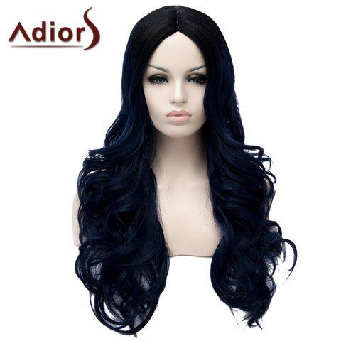 Discount Fashion Black Ombre Dark Blue Middle Part Fluffy Wavy Long Synthetic Adiors Wig For Women