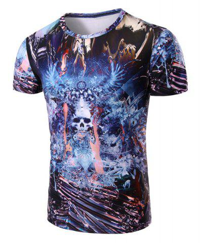 New Round Neck Skull Abstract 3D Print Pattern Short Sleeve T-Shirt For Men COLORMIX M