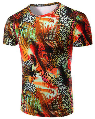 Round Neck Geometric Abstract 3D Print Pattern Short Sleeve T-Shirt For Men - COLORMIX M