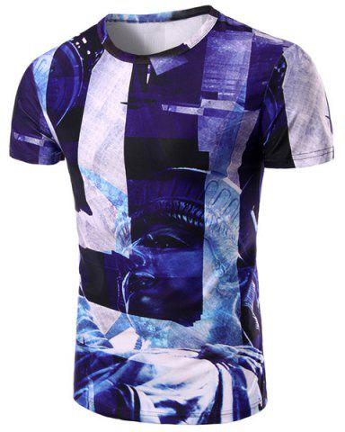 Store Round Neck Statue 3D Print Pattern Short Sleeve T-Shirt For Men COLORMIX M