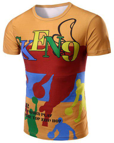 Buy Round Neck Letter and Cartoon 3D Print Pattern Short Sleeve T-Shirt For Men COLORMIX M