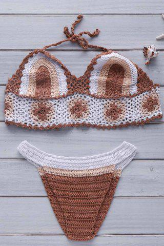 Buy Halter Color Block Crochet Bikini Set KHAKI ONE SIZE(FIT SIZE XS TO M)