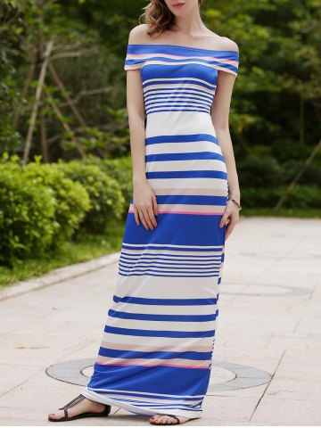 Fashion Striped Off The Shoulder Maxi Dress