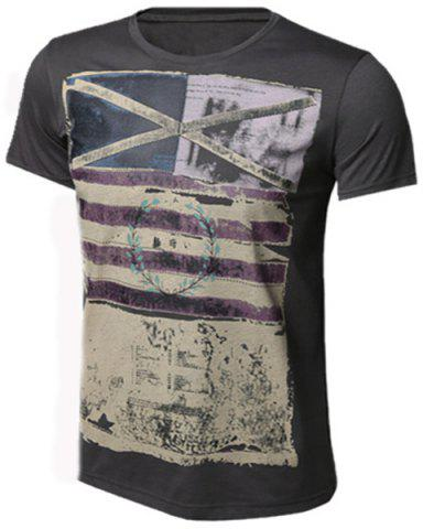 Outfit Slimming Round Neck Stripes Ombre Print Short Sleeves T-Shirt For Men DEEP GRAY S