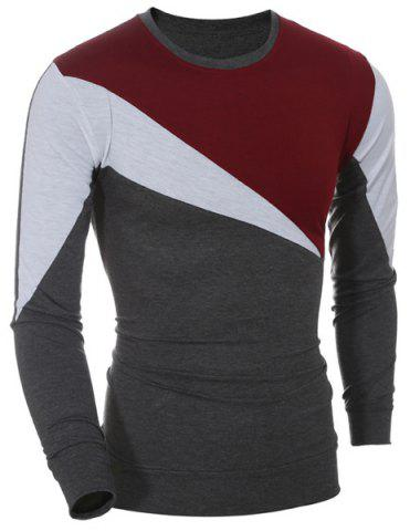 Discount Casual Color Block Long Sleeves T-Shirt For Men WINE RED M