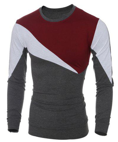 Best Casual Color Block Long Sleeves T-Shirt For Men - XL WINE RED Mobile