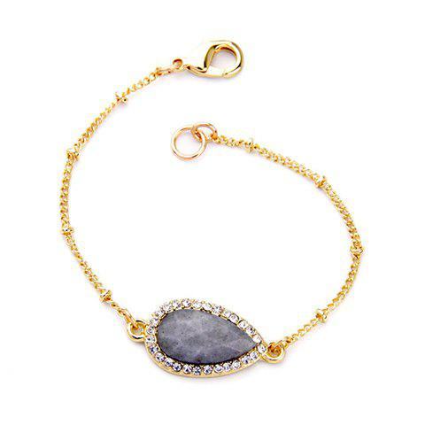 Trendy Stone Decorated Rhinestoned Water Drop Bracelet