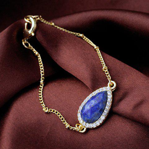 Best Stone Decorated Rhinestoned Water Drop Bracelet - BLUE  Mobile