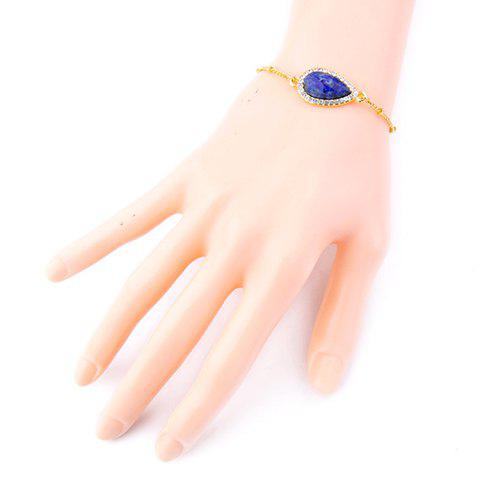 Buy Stone Decorated Rhinestoned Water Drop Bracelet - BLUE  Mobile