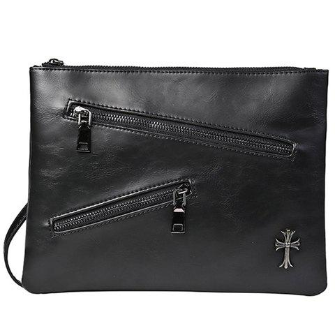 Fashion Retro Zips and Cross Design Clutch Bag For Men