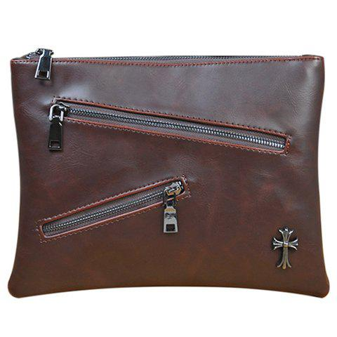 Cheap Retro Zips and Cross Design Clutch Bag For Men - COFFEE  Mobile