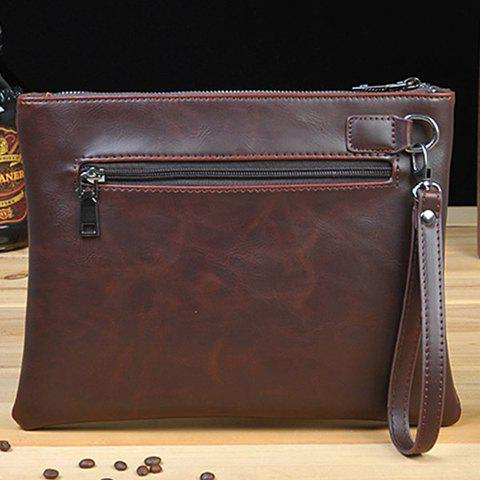 New Retro Zips and Cross Design Clutch Bag For Men - COFFEE  Mobile